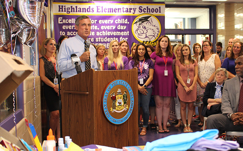 Picture of Governor Carney at a local elementary school.