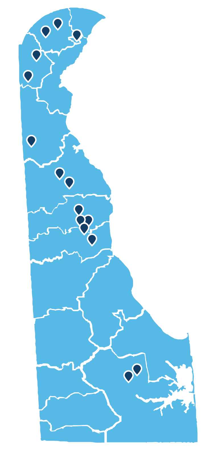 Map of State of Delaware with school districts marked with map pins